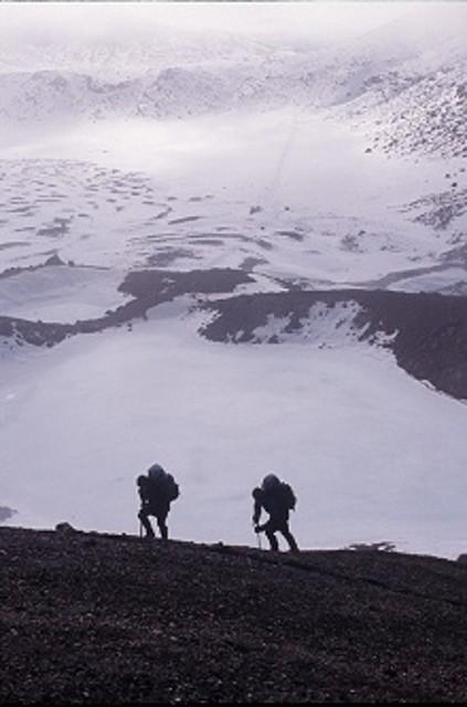 Ascending Red Crater, Tongariro Crossing in winter