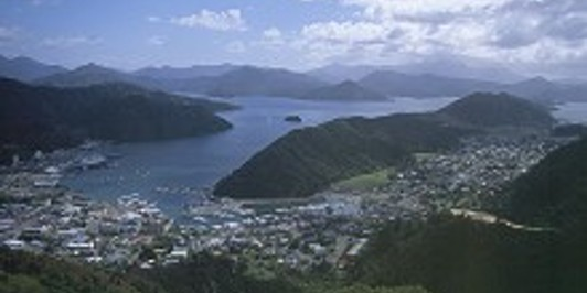 Picton Harbour and Queen Charlotte Sound from the Tirohanga Walkway