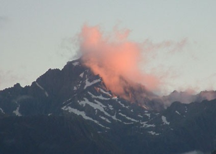 Mt Copland through rose coloured clouds