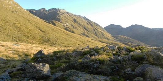 The Olivine ledge from our bivvy at sunset.
