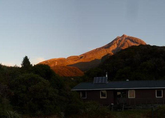 Holly Hut with Mount Taranaki