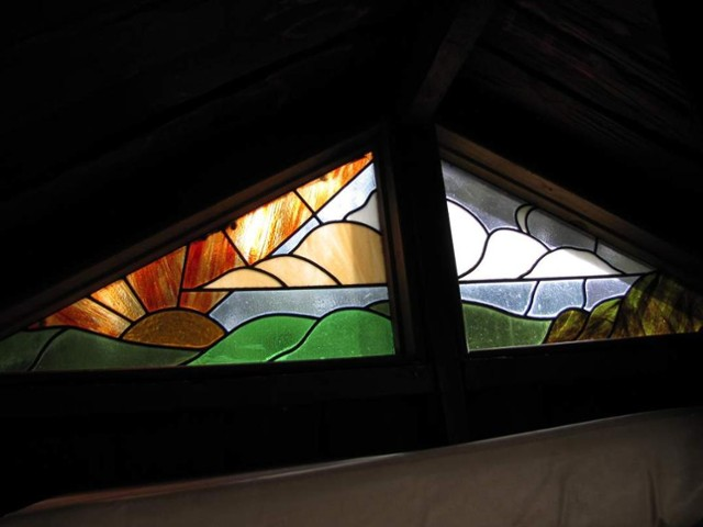The famous stain glass window at Rogers Hut