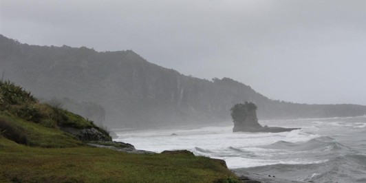 Wild coastline at the end of the Truman Track