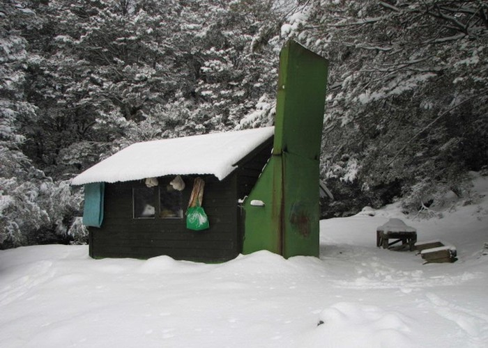 Slip Flat Hut in the snow