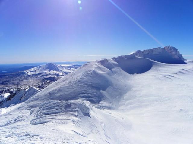 Above the summit plateau on Ruapehu