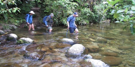 The first of eight river crossings