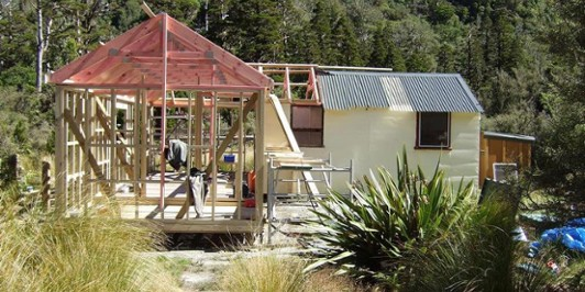 Building extensions Cedar Flat hut   9.03.12