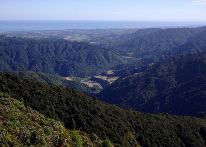 View west from the Tararua Ranges.