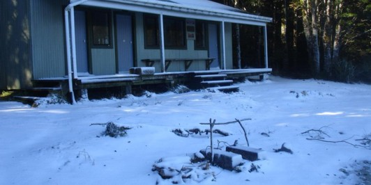 Snow at Sandy Bay Hut