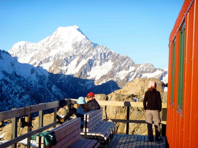 Views of Mt Cook from the deck at Mueller Hut