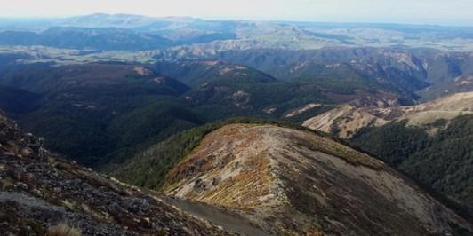 Camp Ridge - descent to Middle Hill, Kawekas