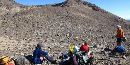 Having lunch at Upper Te Mari Crater May 2012