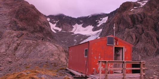 Barker Hut at sunrise.