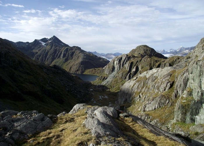 Harris Saddle and Valley of the Trolls from Lake Wilson outlet