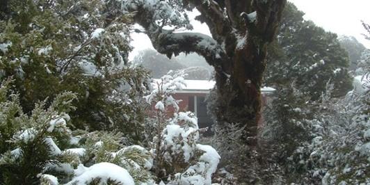manuoha hut in snow