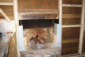 Flora hut fireplace