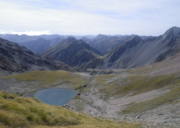 Lake Anti-Mavis, Tarn Pass in the distance