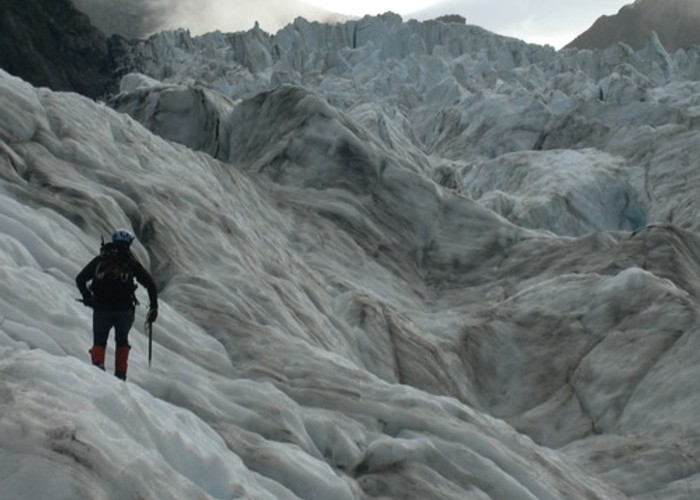 Weaving up to the first major icefall on Fox Glacier