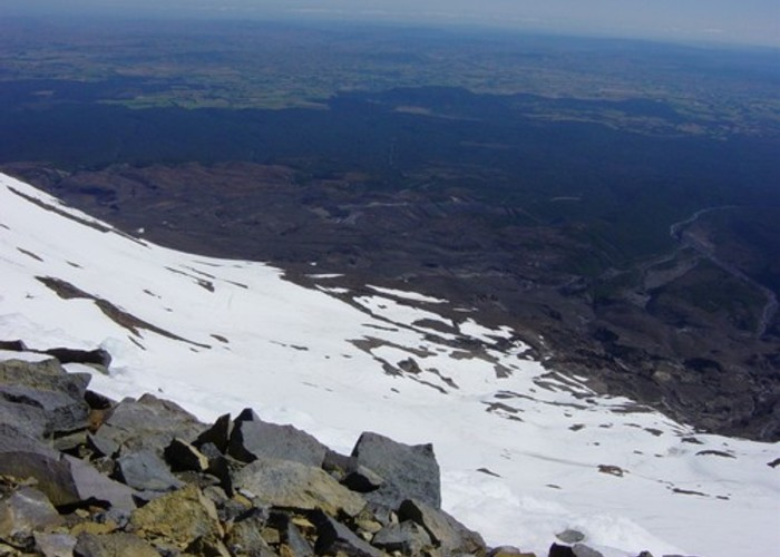The view back down toward Ohakune from the rim of Ruapehu