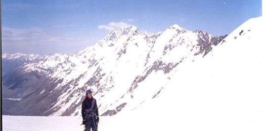 Standing in Graham Saddle with Cook & Tasman to the right