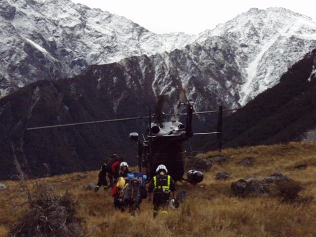 Otago rescue chopper, Huxley Valley