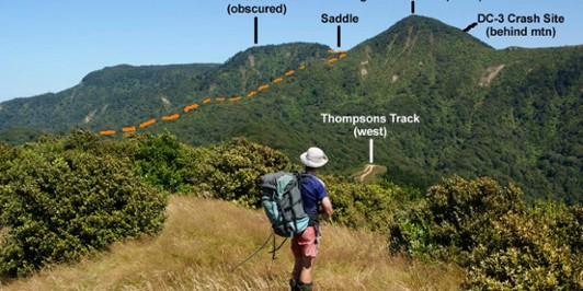 View over Thompsons Track from Main Range to Ngatamahinerua