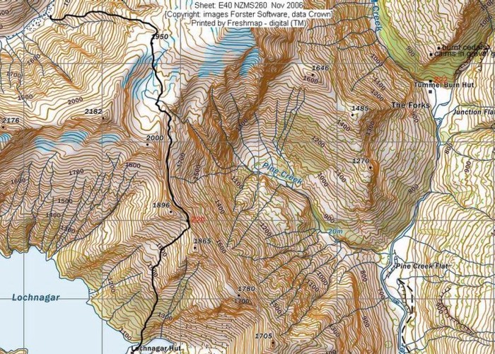 route from Snowy Creek to Lochnagar via Snowy Saddle