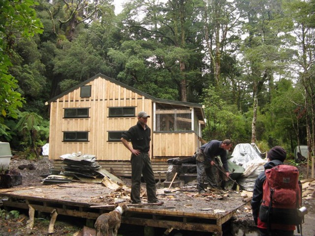 Destruction of the old Atiwhakatu Hut