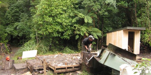 Destruction of the old Atiwhakatu Hut