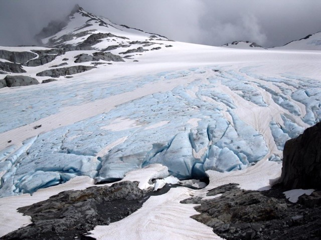 Blue ice on the snout of the Brewster Glacier