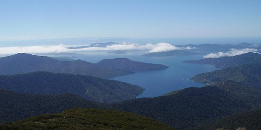 Marlborough Sounds views from Mt Stokes