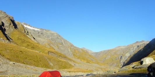 Overnight beside Snowy Ck. - Mt.Aspiring NP NZ