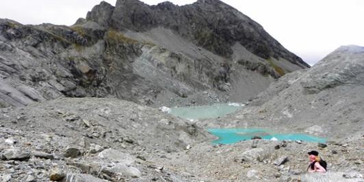 Terminal lakes of Park Pass glacier