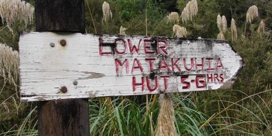 Sign at Upper Matakuhia Hut