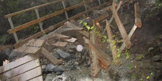 Damaged bridge between Routeburn Falls and Routeburn Flats Huts