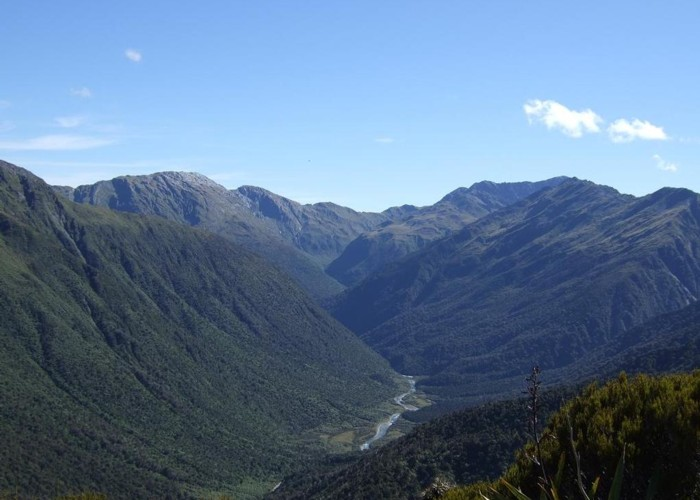 Looking down the Arahura River from near Campbell biv  Feb 2009