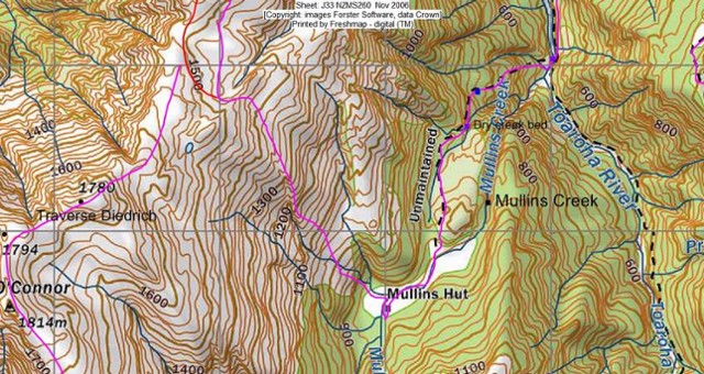 Route to Jumble Tops from Mullins Hut