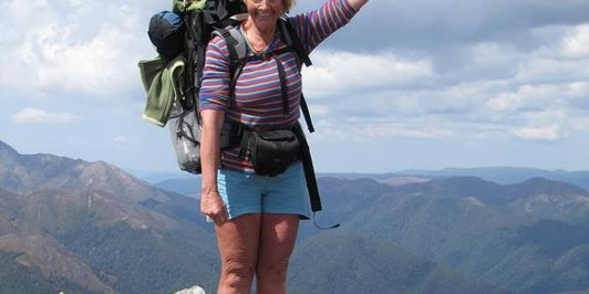 Sue on the summit of Thunderbolt